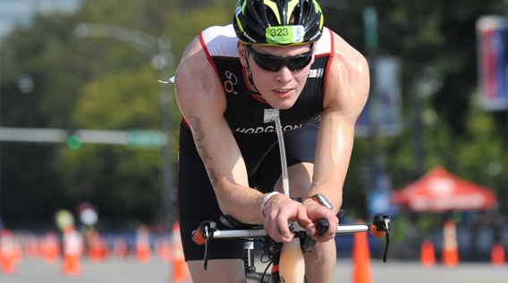 Athlete cyclist taking part in a triathlon race