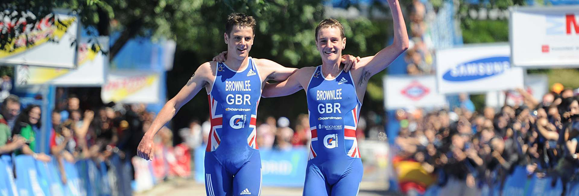 The Brownlee brothers celebrate a double finish.