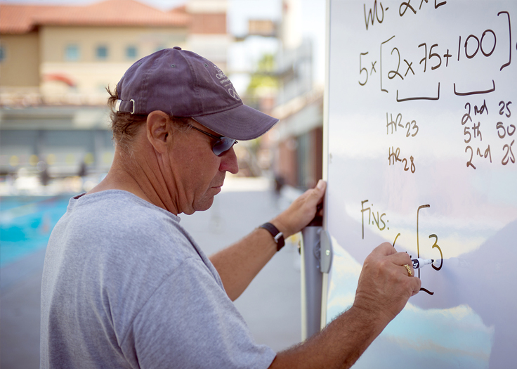 Sports Coach writing down techniques on whiteboard for athletes