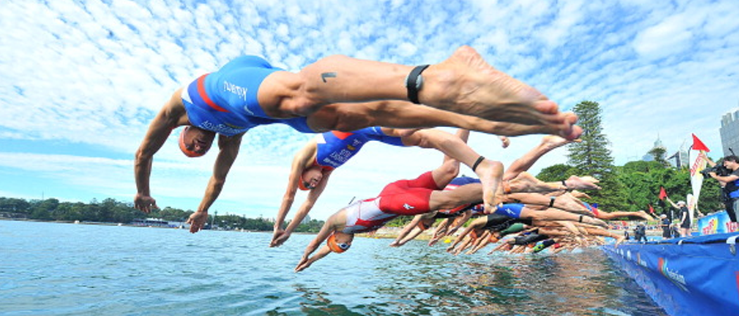 Group of swimmers diving into a pool ready to begin a race